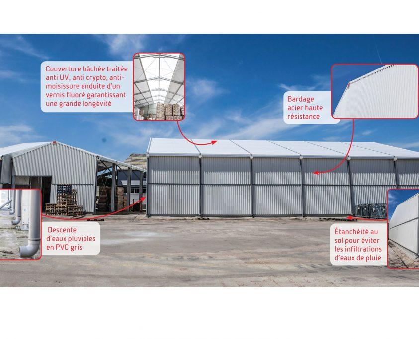 Hangar temporaire détail