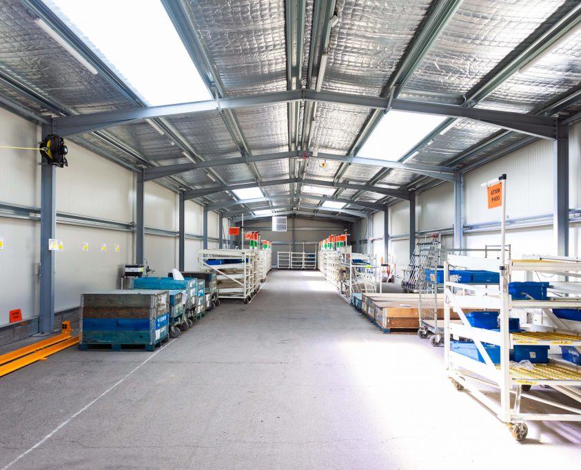Bâtiment métallique provisoire, 500m², location 60 mois