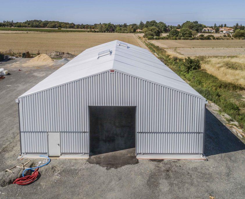 Hangar de stockage démontable, 600m², location 36 mois